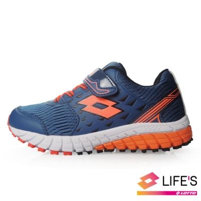 LOTTO 義大利 童 雙色動力  雙密度避震跑鞋 (深藍)