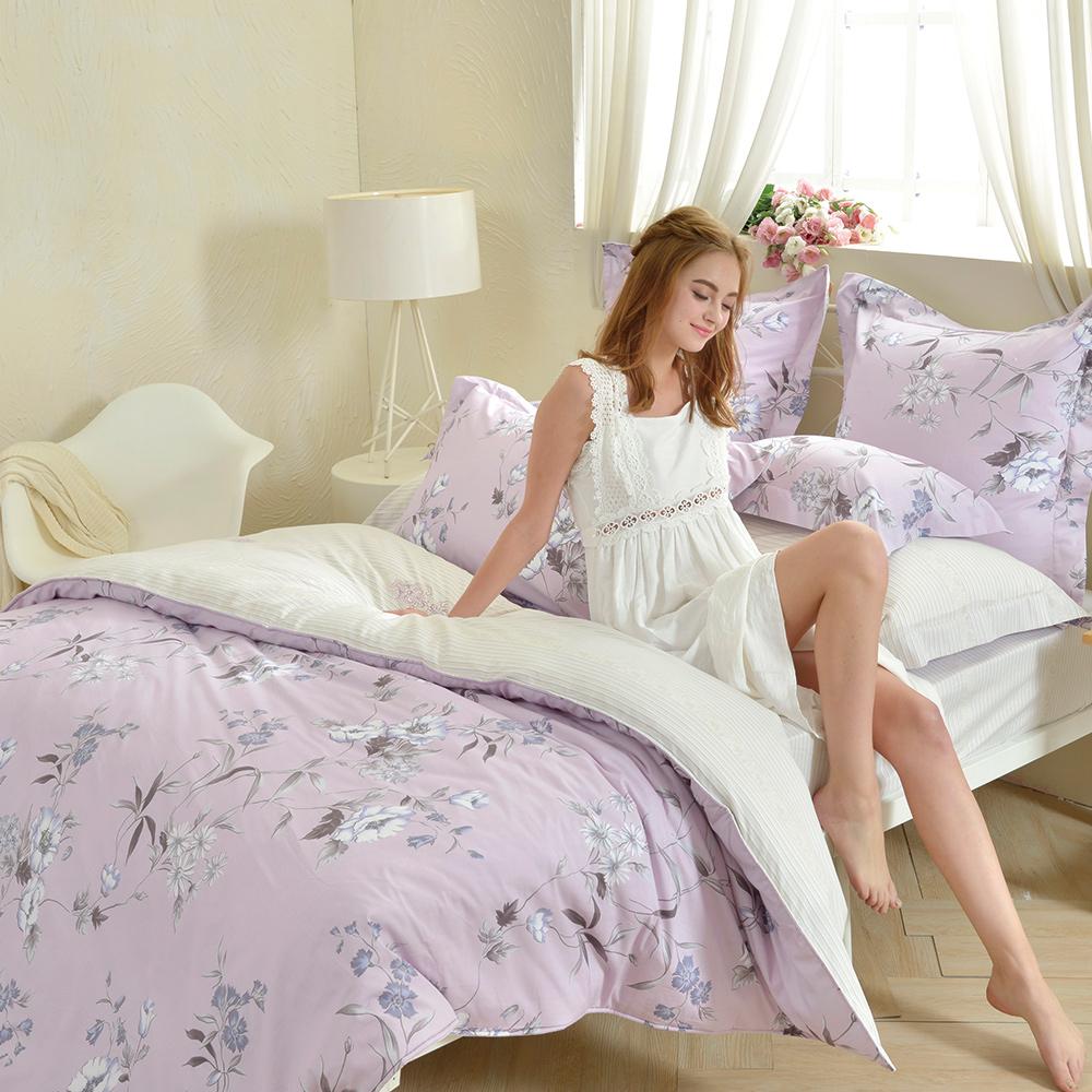 義大利La Belle 紫宴花音 加大防蹣抗菌吸濕排汗兩用被床包組