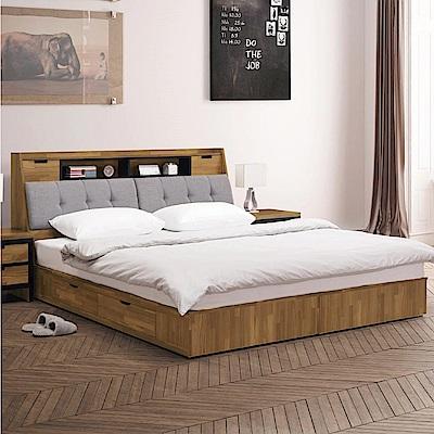 文創集 普爾5尺亞麻布雙人床台(床頭+二抽床底+不含床墊)-157x218x108cm免組