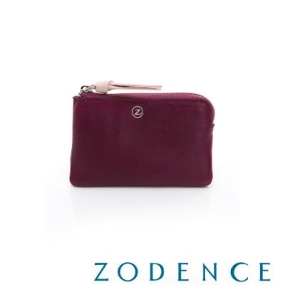 ZODENCE 義大利羊皮柔軟拉鍊帶設計零錢包 紫
