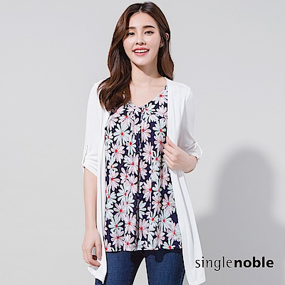 獨身貴族 夏日花園雛菊印花假兩件罩衫(2色)