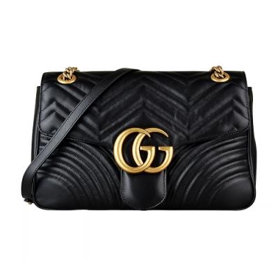 GUCCI Marmont 雙G復古金屬LOGO牛皮愛心車線W字紋扣式肩背斜背包(黑)