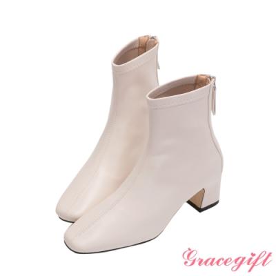 Grace gift-素面車線方頭低跟短靴 白