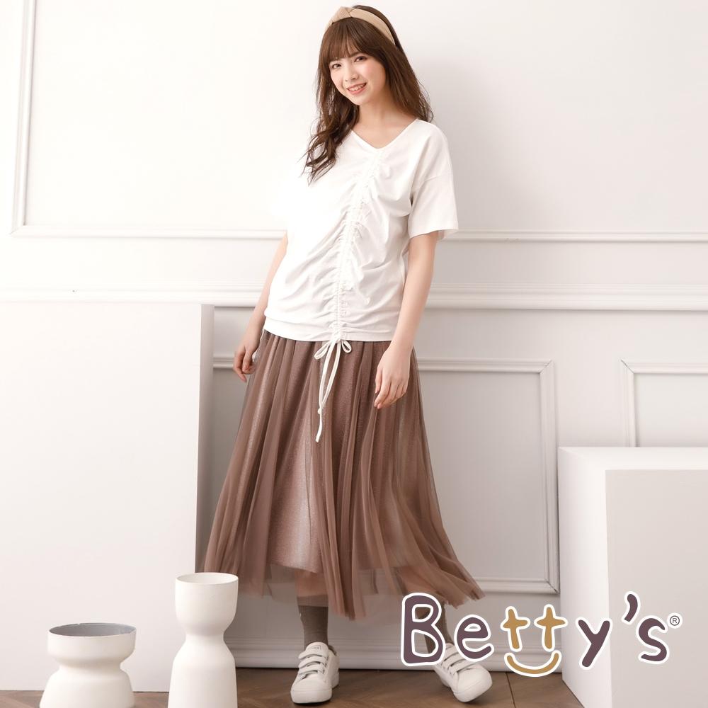 betty's貝蒂思 細緻網亮面布長紗裙(咖啡色)