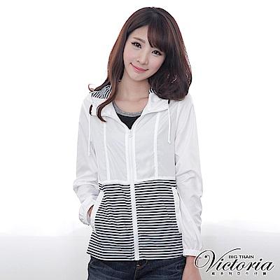 Victoria 條紋配布外套-女-白色