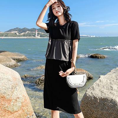 圓領層次拼接短袖開衩洋裝 (黑色)-Kugi Girl