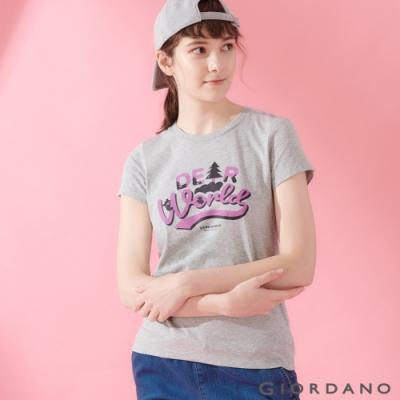 【GIORDANO】女裝DEAR WORLD系列印花T恤-02 中花灰