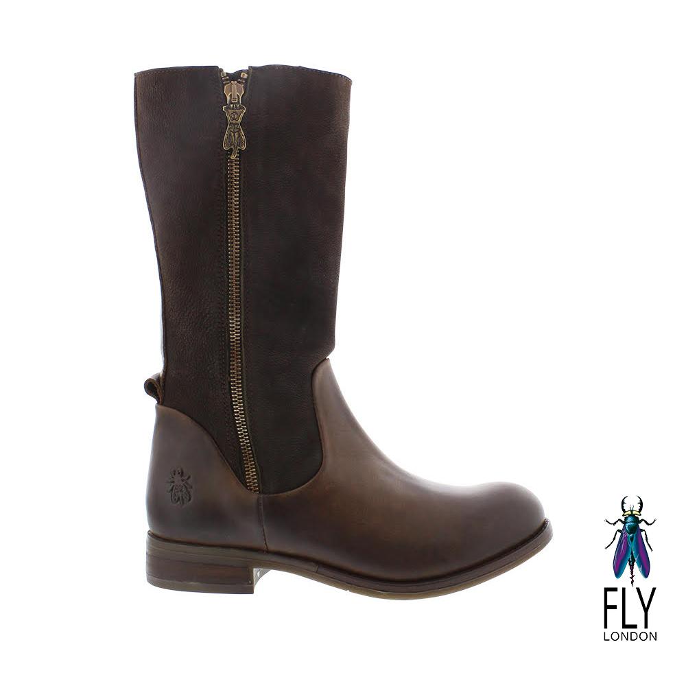Fly London(女) JESSICA 雙料牛皮寬楦平底長筒靴- 氣質咖