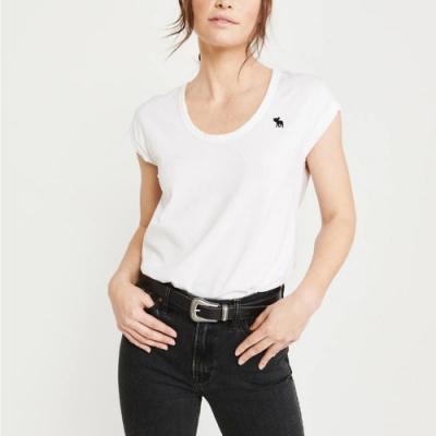 麋鹿 AF A&F 經典圓領小鹿標誌素面短袖T恤(女)-白色