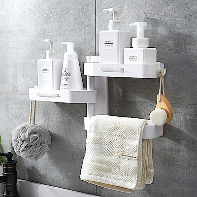 Conalife 浴室廚房免鑽洞三層旋轉置物架(28*24*9.7cm)
