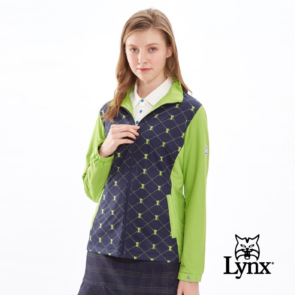 【Lynx Golf】女款防潑水立領雙層菱格滿版可愛貓印花長袖外套-深藍色