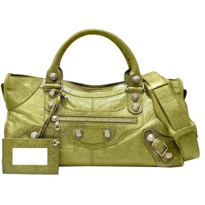 【Balenciaga 巴黎世家】173082 GIANT Part-time 銀釦兩用機車包 (草綠色)