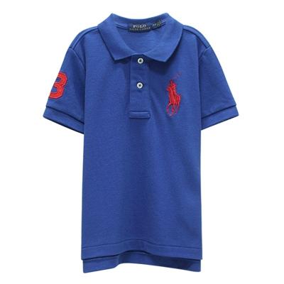 Ralph Lauren 童裝刺繡數字3經典大馬短袖POLO衫-藍色(2/2T)