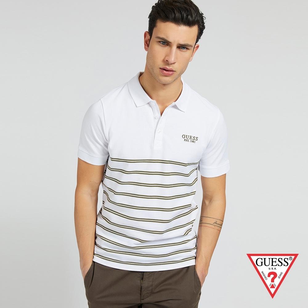 GUESS-男裝-純棉簡約條紋短袖POLO衫-白 原價1790