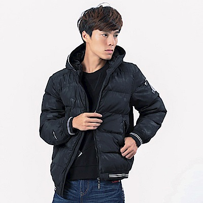 BIG TRAIN 配條羅紋連帽絲棉外套-男-黑色