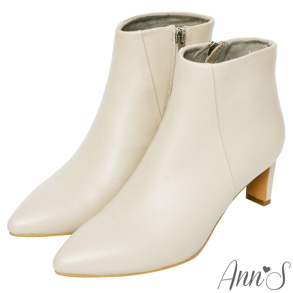 Ann'S這是主打款-小羊皮扁跟6公分尖頭短靴-米白