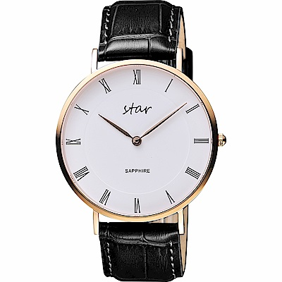 STAR 時代 城市情人羅馬石英手錶-白x玫塊金框/41mm