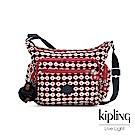 Kipling 節慶感紅黑幾何圖騰多袋實用側背包-GABBIE S