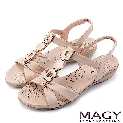 MAGY 異國渡假必備 寶石T字踝帶低跟涼鞋-粉裸