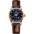 MIDO 美度 永恆系列午夜藍真鑽機械女錶-藍x咖啡錶帶/29mm