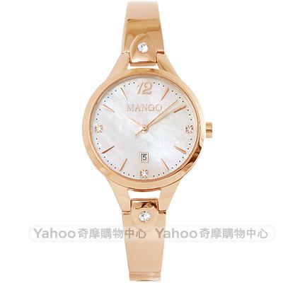 MANGO 優雅晶鑽時尚手錶-珍珠貝X玫瑰金/30mm