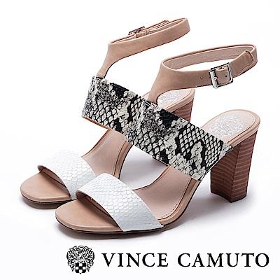 VINCE CAMUTO T字繞踝粗高跟涼鞋-蛇紋