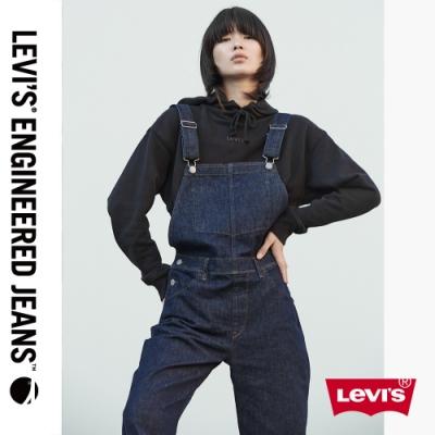 Levis 女款 Baggy高腰寬鬆繭型吊帶褲LEJ3D 原色海報款 彈性