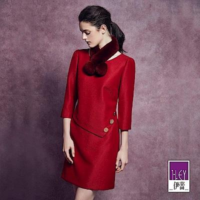 ILEY伊蕾 時尚艷紅質感洋裝(紅)