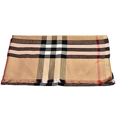 BURBERRY 金屬感格紋絲綢羊毛圍巾/披肩(駝色)