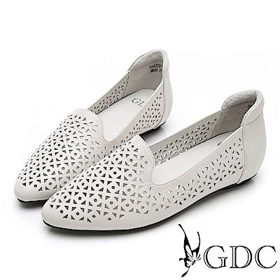 GDC-文青氣質質感簍空雕花真皮平底包鞋-米色