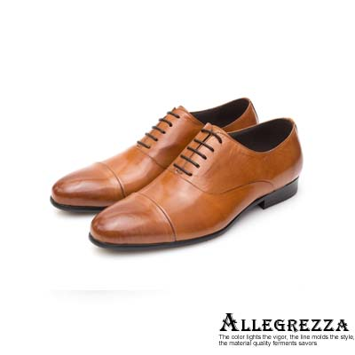 ALLEGREZZA真皮男鞋-時髦關鍵-素面鞋頭橫飾拼接牛津鞋  焦糖色