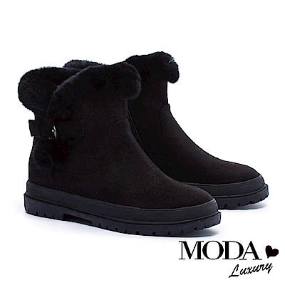 短靴 MODA Luxury 簡約釦帶裝飾兔毛點綴厚底短靴-黑