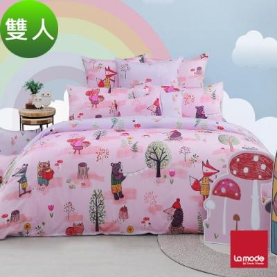 La Mode寢飾 魔法夢公園環保印染100%精梳棉兩用被床包組(雙人)