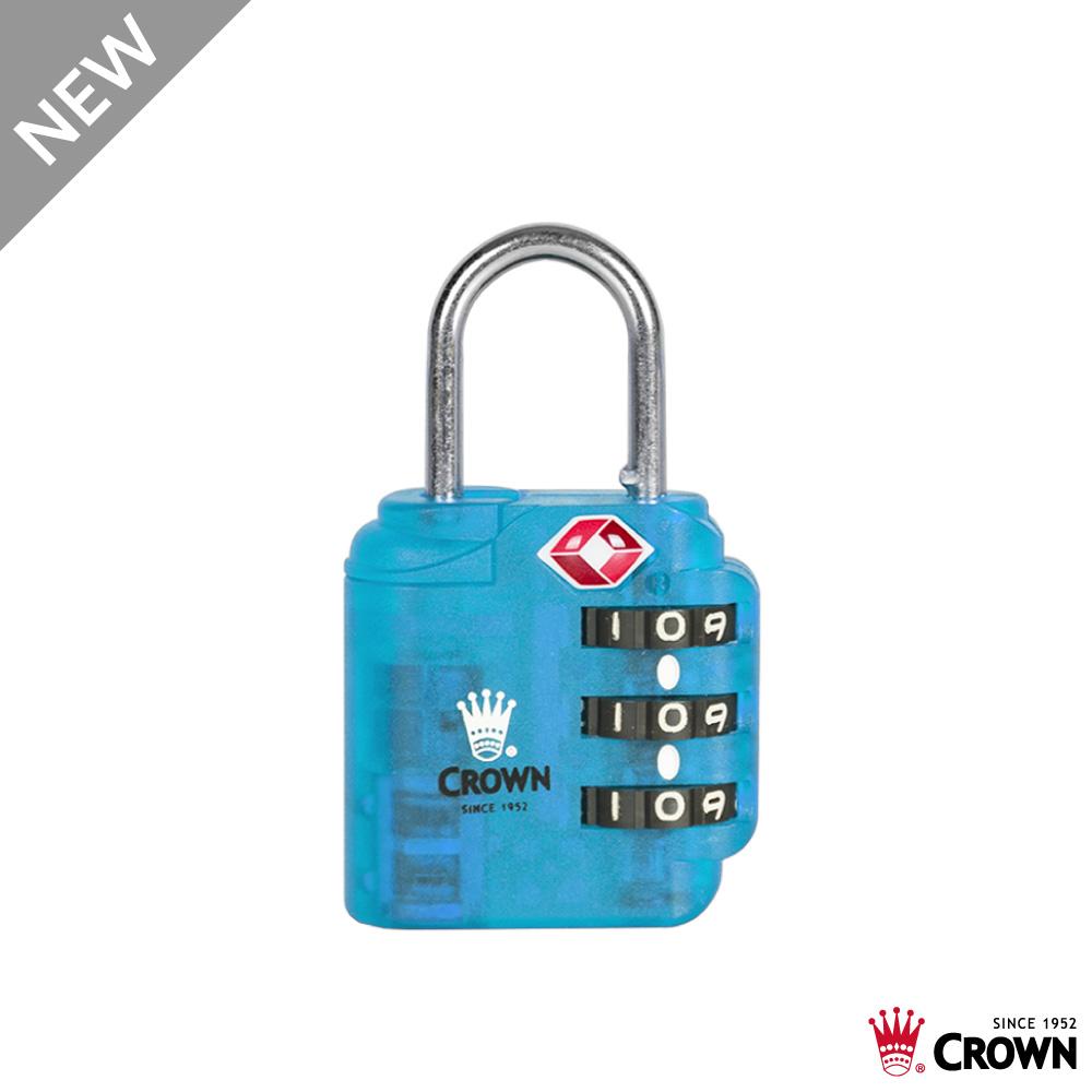 CROWN 皇冠 TSA海關密碼鎖 鎖頭掛鎖 透明藍