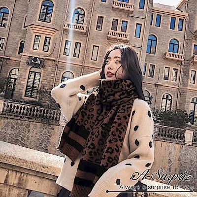 A-Surpriz 東大門豹紋厚織長版圍巾(咖)