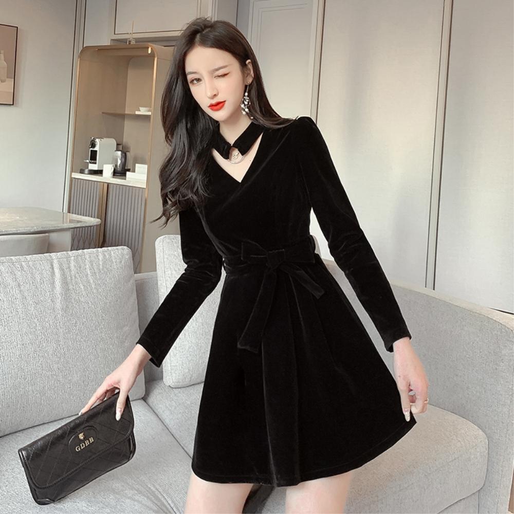DABI 韓系復古絨面V領掛脖性感絲絨長袖洋裝