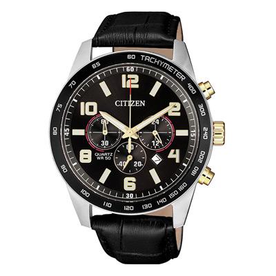 CITIZEN 榮耀時刻三眼計時腕錶-黑(AN8166-05E)/43mm