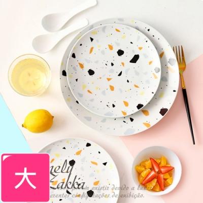 Homely Zakka 北歐ins小清新水磨石紋陶瓷餐具_大圓平盤