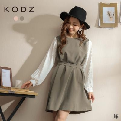 東京著衣-KODZ 半糖女孩假兩件式百褶袖附綁帶洋裝(共二色)