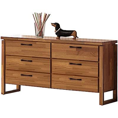 綠活居 凱比時尚4.5尺木紋六斗櫃/收納櫃-136x45x81cm免組