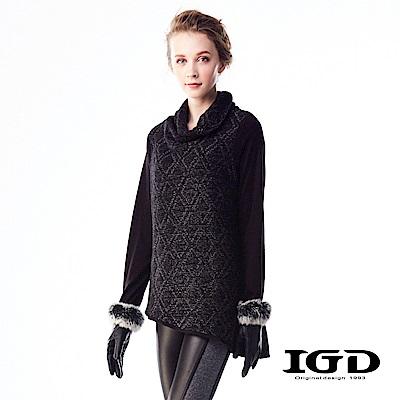 IGD英格麗 菱形格紋針織圍巾領羊毛上衣-黑色