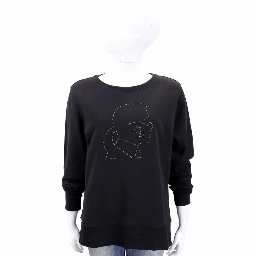 Karl Lagerfeld 老佛爺鉚釘圖騰黑色棉質運動衫