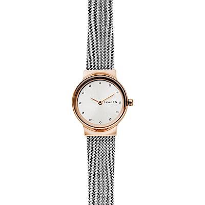Skagen Freja 晶鑽小錶徑米蘭帶女錶-銀x玫塊金框/26mm (SKW2716)