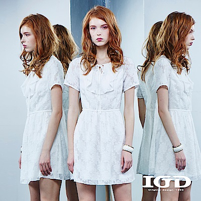 IGD英格麗 特殊領型立體刺繡蕾絲洋裝-白色