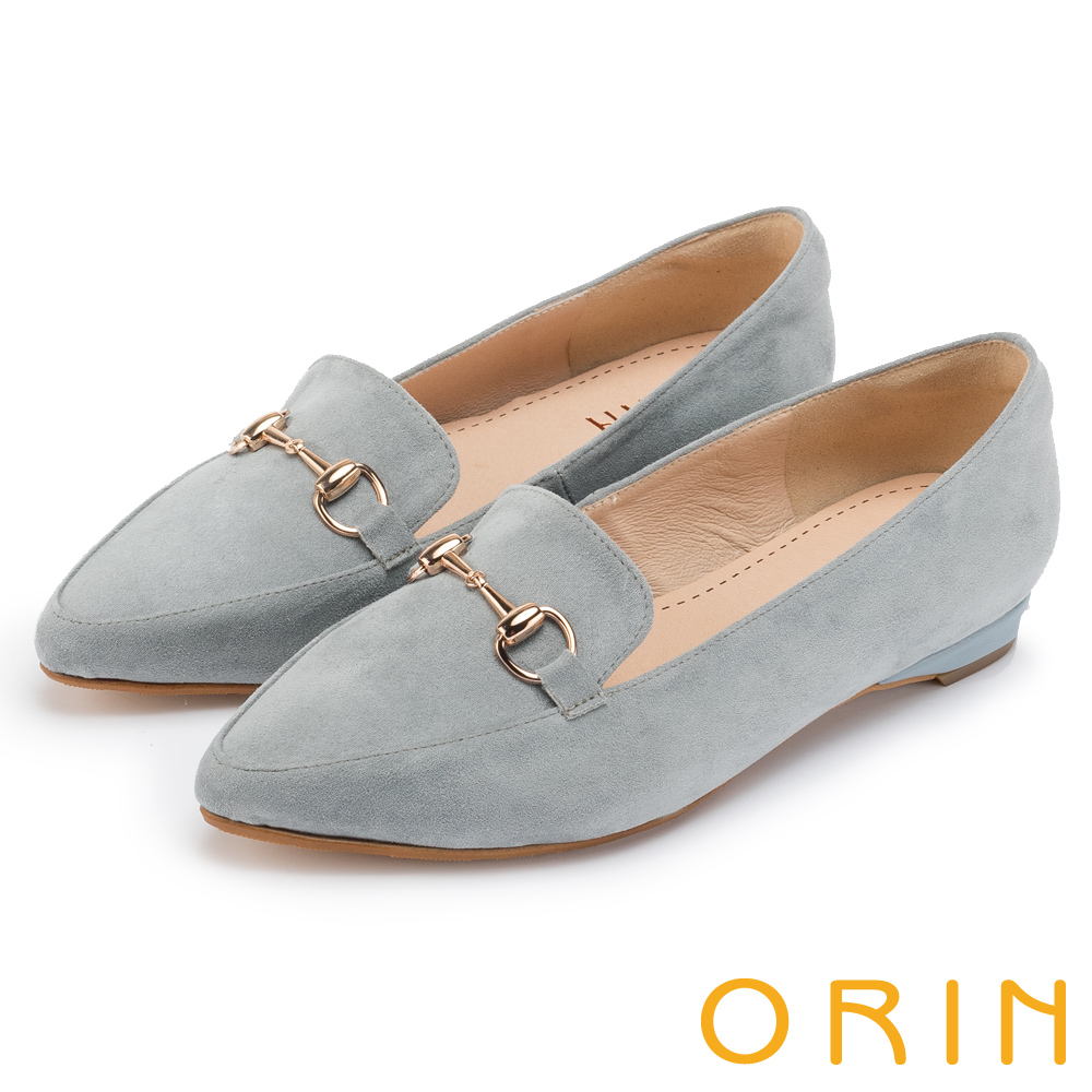 ORIN 經典復古 氣質馬蹄扣百搭樂福平底鞋-藍灰