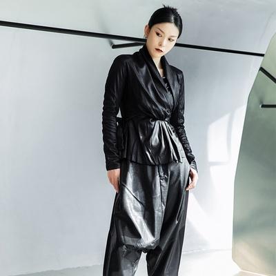 設計所在Style-修身綁帶麂皮絨短夾克外套