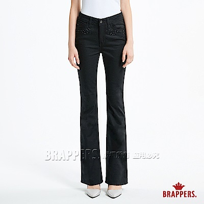 BRAPPERS 女款 AC Cargo系列-彈性中腰菱格花蕊鑲鑽靴型褲-黑