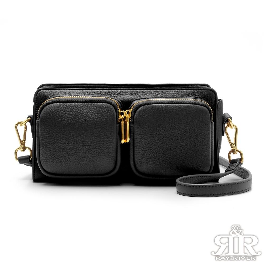 2R Dual寬帶造型雙用斜背口袋包 夜黑