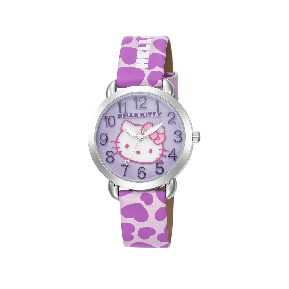 HELLO KITTY 凱蒂貓 繽紛愛心立體貓頭手錶 粉紫/36mm