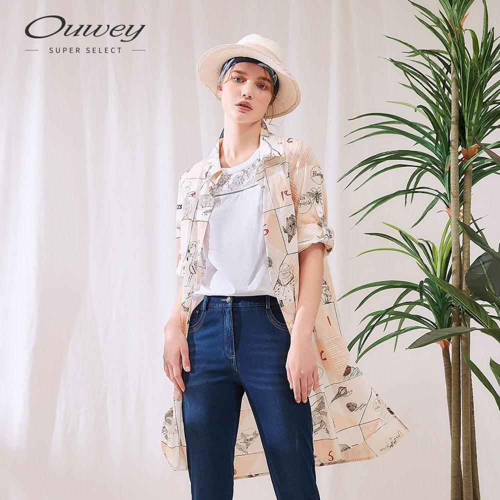 OUWEY歐薇 清新美式塗鴉純棉長版襯衫外套(白)